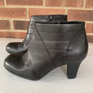 Michelle D black leather booties